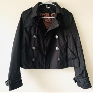 H&M rare divided black cropped trench coat size 6